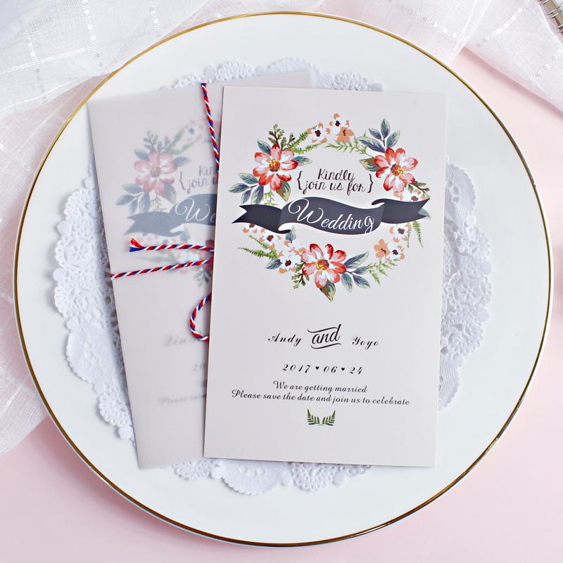 2018摩卡婚礼请柬喜帖定制 照片透明硫酸纸 请帖结婚创意婚庆用品