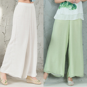 The new summer dresses Mianma wide leg pants pants female folk style dress loose white linen trousers retro tide