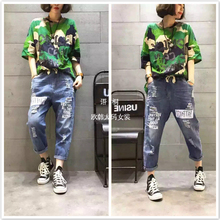 The European version of the 17 summer stamp letters elastic casual jeans with loose T-shirt Camo fashion tide