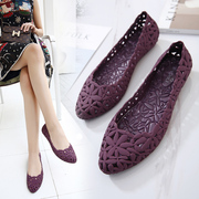 17 summer hollow pointed jelly shoes, flowers breathable, shallow flat bottomed sandals, beach shoes, bird's nest, hole shoes, women