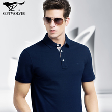 Seven wolves short-sleeved t-shirt male 2018 summer new lapel cotton polo shirt men's men's dad loaded current