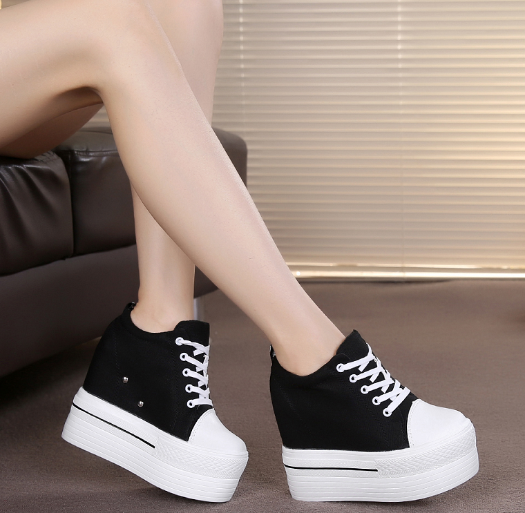 Korean version of the students thick bottom canvas women casual shoes with high height of 8cm slope and cloth shoes high help canvas shoes