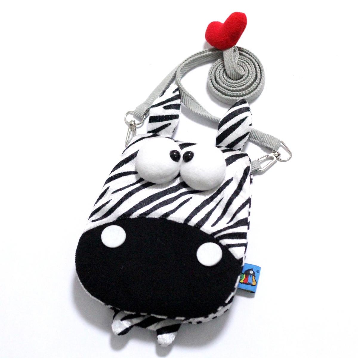 PLUMO三星苹果iPhone6plus斜跨零钱手机包保护毛绒萌可爱卡通斑马
