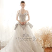 In 2017, the new design of Lan Lan wedding dress, bride's wedding dress design, gray luxury, long tail wedding dress