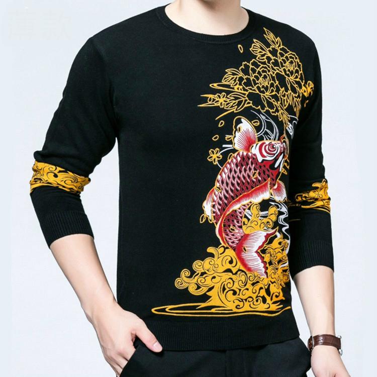 中国风春秋男士薄款花式针织羊毛衫个性鲤鱼跳龙门图案印花毛衣潮