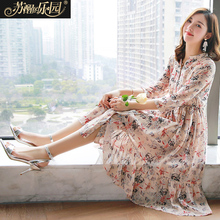 floral dress 2018 new summer women's chiffon printing spring long sleeve small fresh thin mid-length long skirt