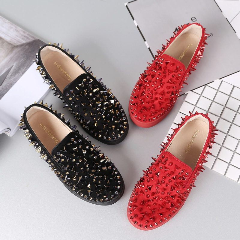 New couple Lok Fu shoes female pine cake thick bottom one pedal lazy person rivet Big code women's shoes leisure flat Bottom shoes tide