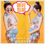 16 exhibition studio photography photo theme floral Sexy Costume print cheongsam pregnant woman clothing.