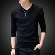 Take 1 2 2017 new trend of Korean men sweater sweater Mens personality V neck knit shirt men's jacket