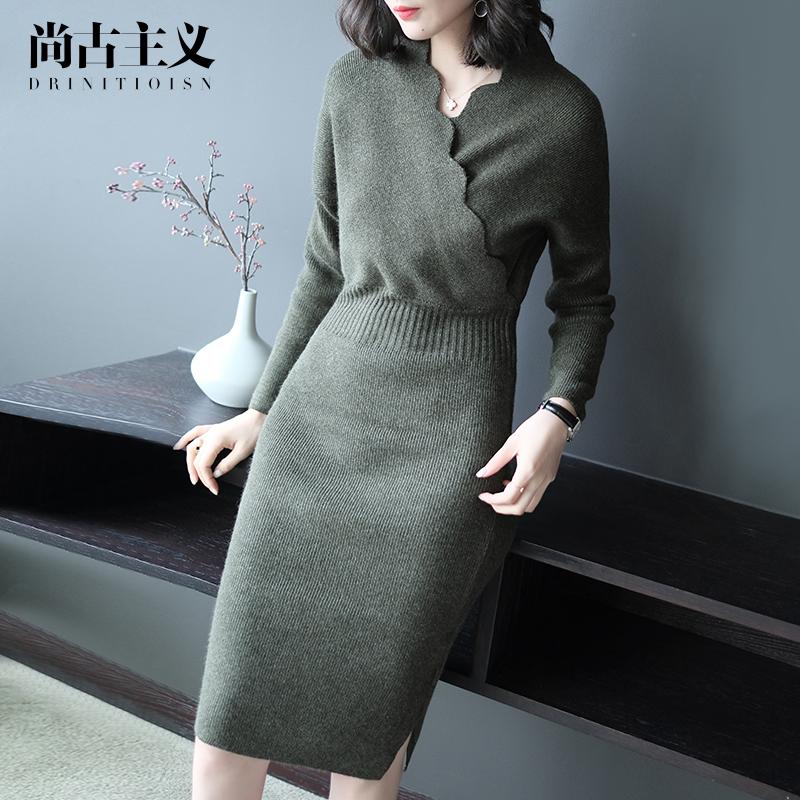 尚古主义2017秋装新款时尚针织连衣裙潮流气质墨绿色蝙蝠袖一步裙