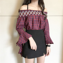 The 2017 women's new spring wind source collar sleeve Strapless plaid shirt factory direct wholesale