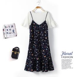 2018新款女装春装时髦套装裙夏季chic吊带裙两件套雪纺碎花连衣裙