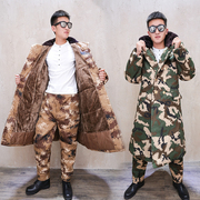 Winter outdoor thick desert camouflage long cold work with velvet army camouflage coat cold cotton coat with male