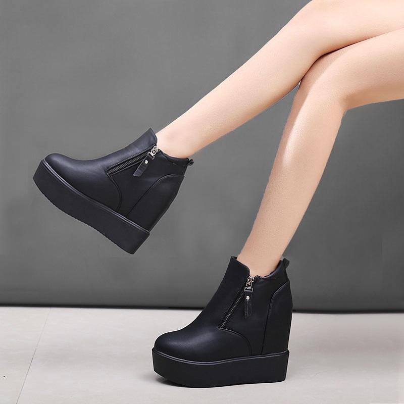 冬靴坡跟厚底内增高女士短靴高跟靴子棉鞋女冬加绒秋冬马丁靴女靴