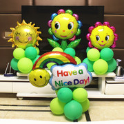 Post baby smiley face balloon aluminum road layout holiday feast day birthday birthday party decoration ball