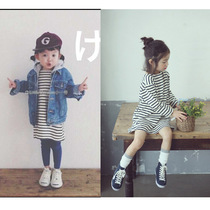 Korean version and cashmere thick girls striped dress child cotton long sleeve winter base skirt girl princess dress