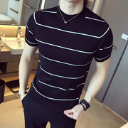 The new summer men's fashion half sleeve shirt striped sweater round neck sweater Metrosexual thin clothes