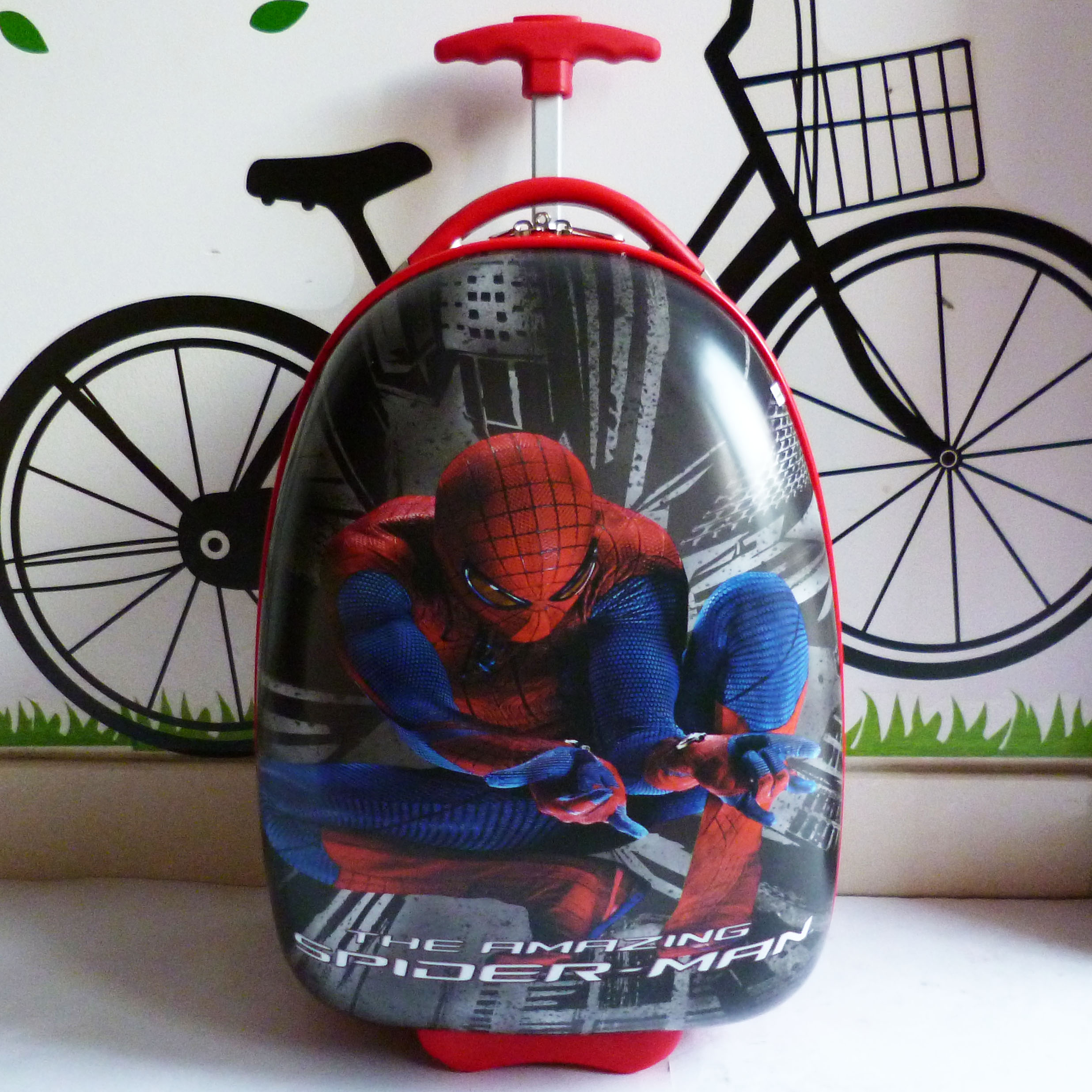 Special black spider man pull rod box board box cartoon egg-shaped children travel luggage bag box 16 inches