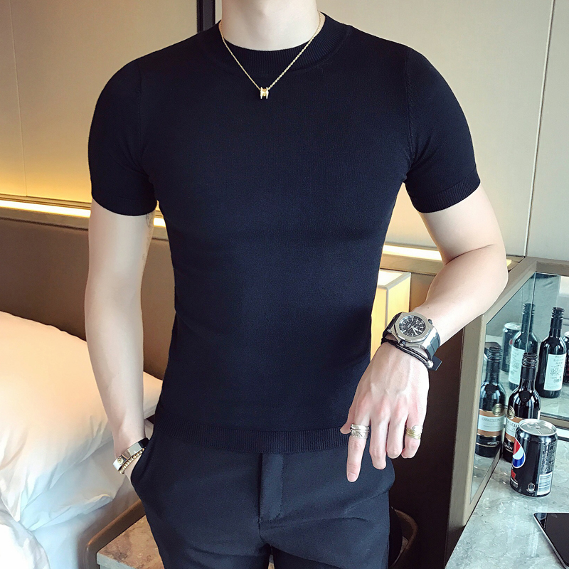 The summer half turtleneck short sleeved T-shirt male half sleeve sweater T-shirt bottoming slim Korean male thin sweater sweater