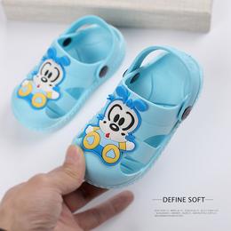 巴布豆儿童拖鞋夏女 男童可爱洞洞防滑1-3岁婴幼儿包头宝宝凉拖鞋
