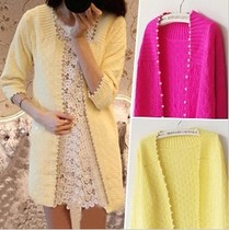 Tidal spring and summer Cardigan womens long thin small box Pearl edge in the Korean version of sweaters outside the Joker
