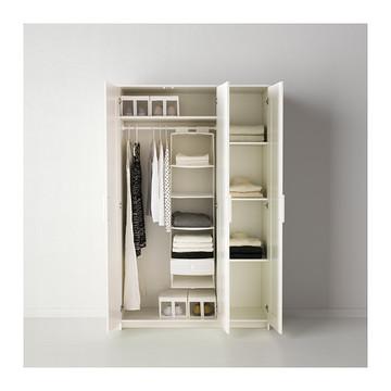宜家代购 百灵衣柜带3个门,玻璃门衣柜衣橱 白色117x190 原价1499