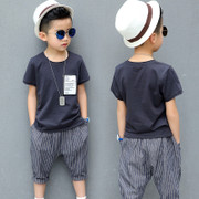 YODINA children's wear, 2017 summer children's wear, short sleeved T-shirts, two sets of big boys, six point pants, children's suits