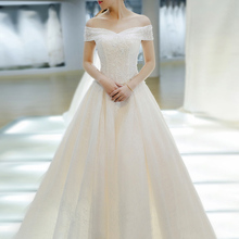 Light wedding dress Korean version of the new bride married long tail 2018 Sen Department of dreams simple word shoulder to female