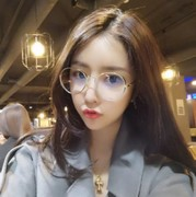 Retro myopia round net red plain eyes. The tide degrees round box makeup glasses frame female soft sister