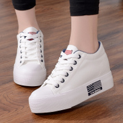 Spring white canvas shoes female Korean students increased thick soled shoes low all-match leisure muffin bottom color