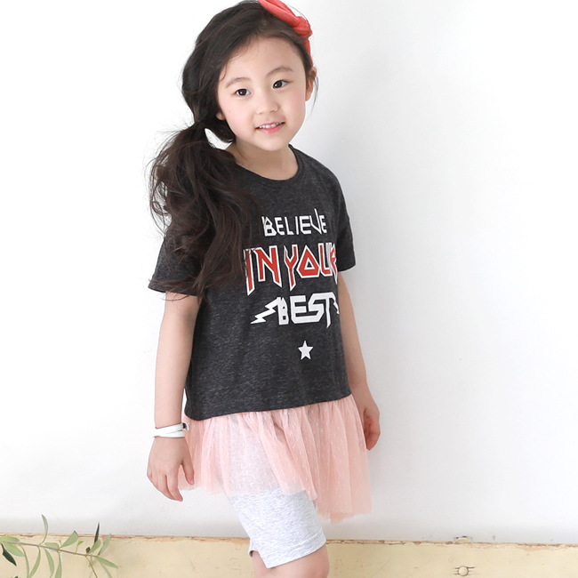 Big girls short sleeved suit children half sleeve hem stitching yarn shorts two piece girl casual black ash