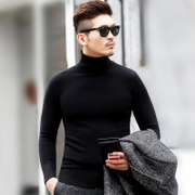 Men's winter turtleneck pullovers knitwear fashion color thickened Korean cultivating black shirt