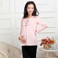 Face the spring section maternity bow fold long sleeved T-shirt coat SMRJ3331 Korean women