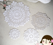 Hand-crocheted pure cotton openwork decoration DIY accessories shooting props rounded flower coaster 10-25cm