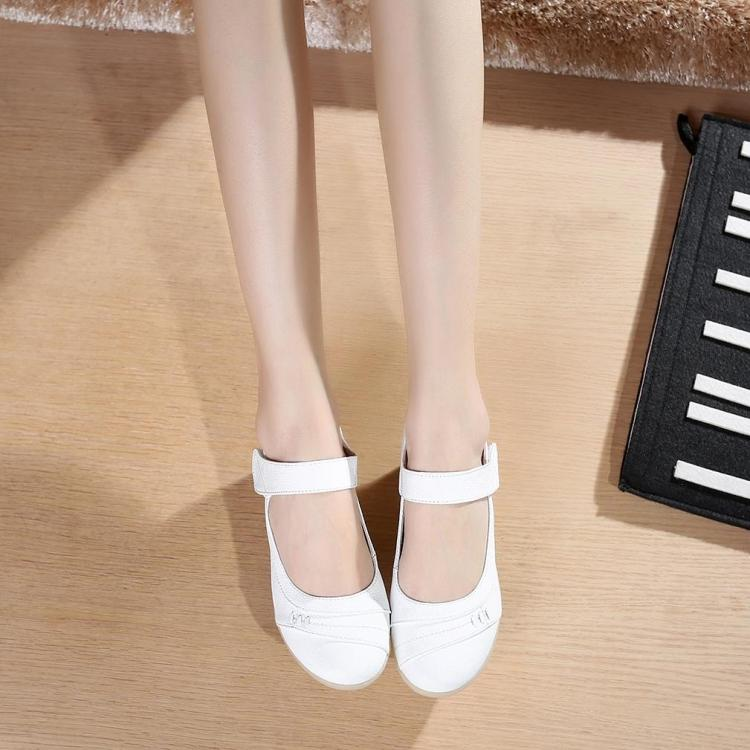 Spring and autumn new style leather flat bottom with white nurse shoes soft beef tendon at the end of little white shoes soft MOM women's shoes