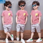 The child's 2017 new boys summer suit children summer wear short sleeved in the Korean version of two sets of clothes tide