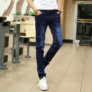 The fall of new men's jeans male slim pants thin black pants trend of Korean youth leisure trousers