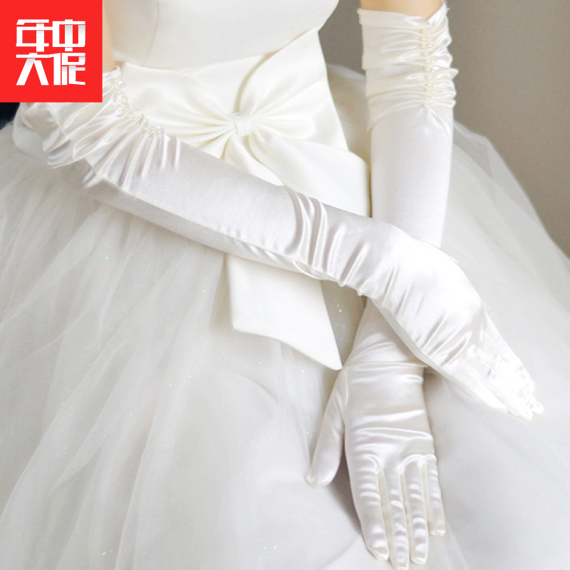 The bride's wedding gloves are lengthened, simple and generous. The Korean style refers to satin, over the elbows, five finger wedding dresses, accessories