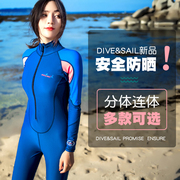 A couple of diving suit diving suits sunscreen clothing wear long sleeved swimsuit jellyfish jellyfish surf clothing dry sunscreen clothing for men and women