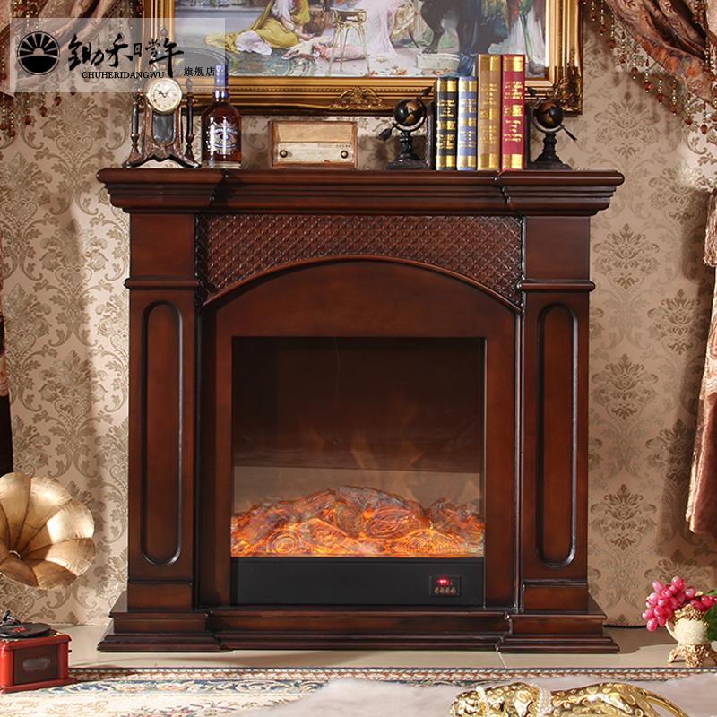 锄禾欧式电壁炉芯仿真火取暖实木假火壁炉电视柜美式壁炉架装饰柜