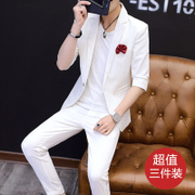 Suit men's suits, summer style, fashion seven points, sleeve thin suit, three sets of young people in the sleeve leisure single suit