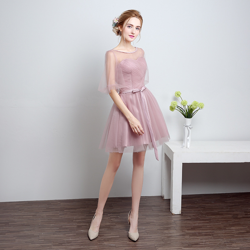 Spring 2017 bridesmaids short skirt Bridesmaid Dress sisters graduation dress dress pleated.