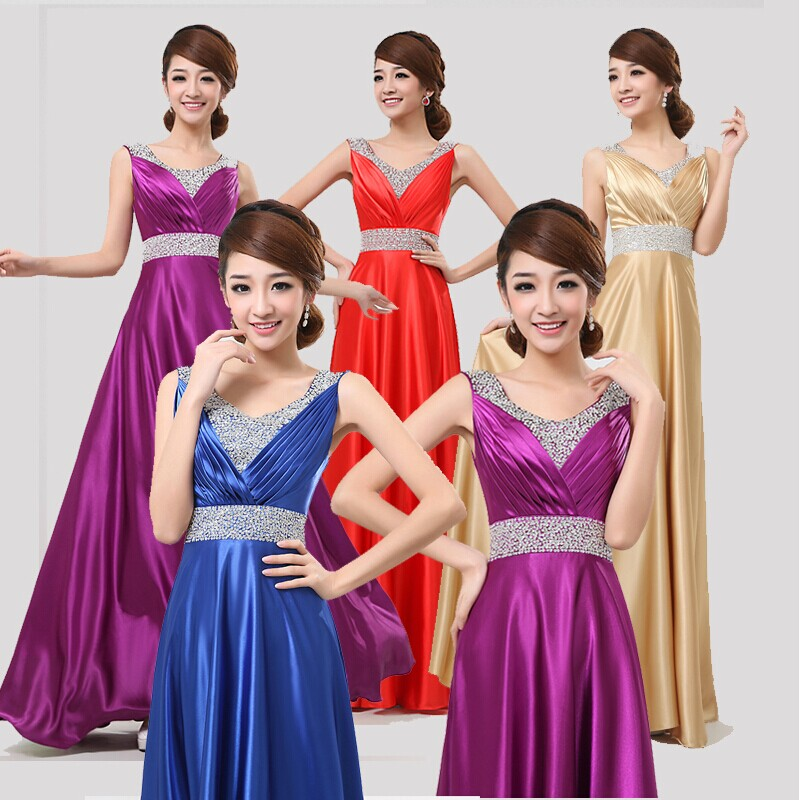 Chorus evening dress long 2015 new toastmasters show female red dress wedding dress clothes