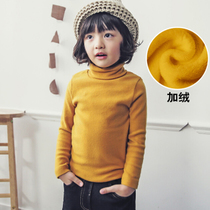Plus velvet padded high collar primer shirt for boys and girls t shirt top grade cotton childrens clothing slim solid color fall winter wear