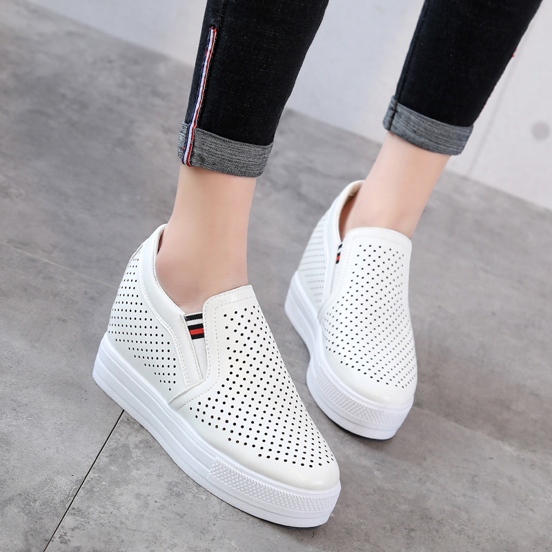 The new spring and summer 2017 breathable shoes increased thick hollow single bottom slope with white shoe all-match leather casual shoes