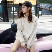 Hoodie female loose Korean student BF in the long wave Harajuku jumper ulzzang solid color shirt