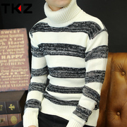 Autumn and winter turtleneck sweater sweater slim Korean men thick coarse needle shirt sweater male clothes