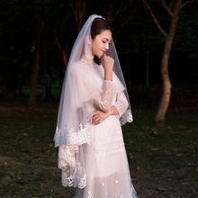 Bridal veil Korean lace veil short paragraph simple beautiful white 2018 new wedding wedding long veil