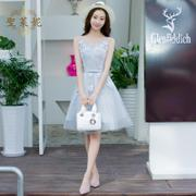 Bridesmaid dress short 2016 new summer party dress will show a thin gray blue host graduation gown