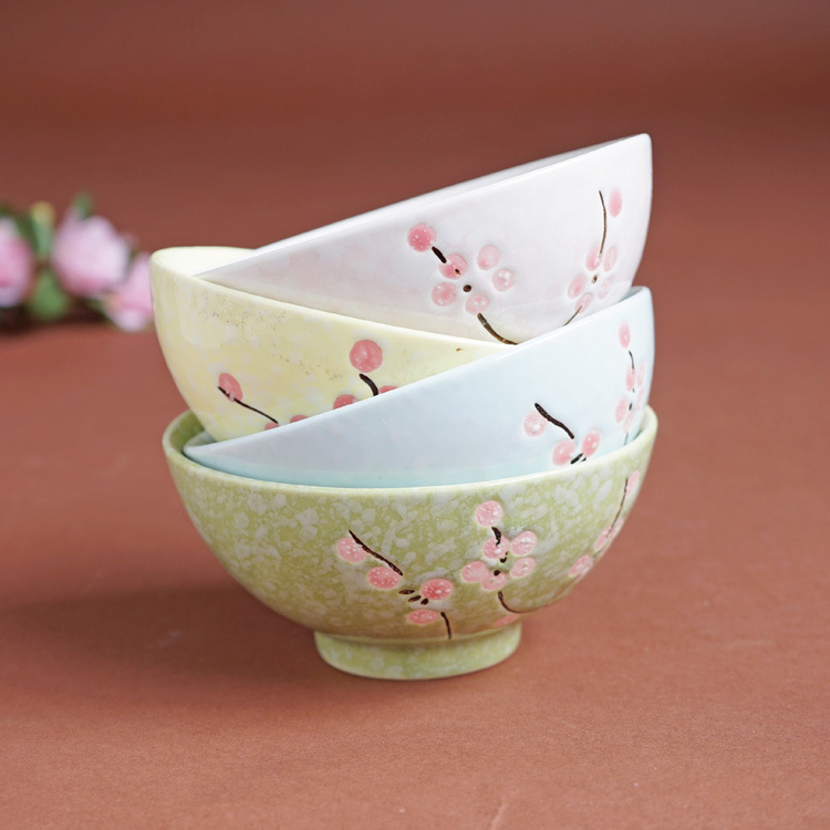 Japanese and wind small pure and fresh and under the glaze painting plum blossoms cherry blossom ceramic bowl bowl bowl tableware package mail only into four